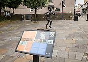 Statue of local hero rugby player, Ken Jones,  Blaenavon, Torfaen, Monmouthshire, South Wales, UK