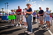 Aug 9, 2010 - SUN CITY WEST, AZ: Residents of Sun City West listen to speakers at the Spending Revolt Bus in Sun City West Monday. The Spending Revolt Bus stopped in Sun City West, a retirement community northwest of Phoenix, Monday. Spending Revolt is a new coalition of taxpayers and business owners concerned about government spending. The bus is attracting Republican and Tea Party affiliated candidates to its events. The bus has crisscrossed Nevada, California and Arizona and is heading east to Washington DC.   Photo by Jack Kurtz / ZUMA Press