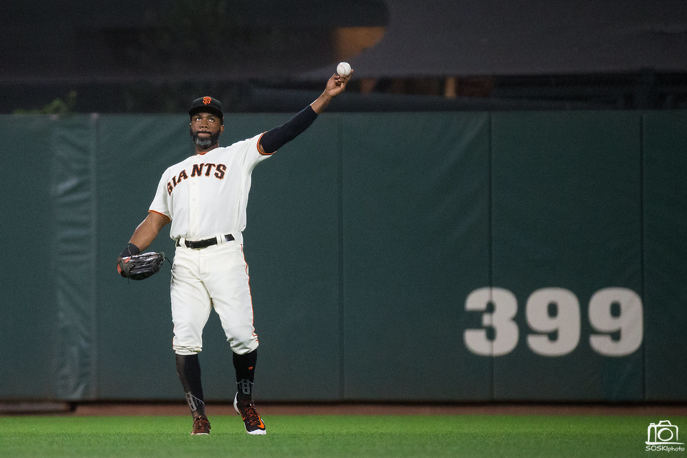 San Francisco Giants center fielder Denard Span (2) throws the ball to the infield during a game against the Los Angeles Dodgers at AT&T Park in San Francisco, California, on September 13, 2017. (Stan Olszewski/Special to S.F. Examiner)