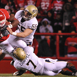 Oct 16, 2009; Piscataway, NJ, USA; Pittsburgh cornerback Jovani Chappel (7) tackles Rutgers wide receiver Mohamed Sanu (6) during first half NCAA football action in Pittsburgh's 24-17 victory over Rutgers at Rutgers Stadium.