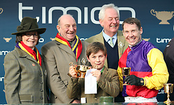 Owners Anne and Garth Broom with jockey Richard Johnson (right) and the trophy after Native River wins the Timico Cheltenham Gold Cup during Gold Cup Day of the 2018 Cheltenham Festival at Cheltenham Racecourse.