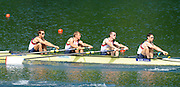 Lucerne, SWITZERLAND.   GBR LM4-  Bow. Paul MATTICK, Rob WILLIAMS, Richard CHAMBERS and Chris BARTLEY, moving away from the start at the 2012 FISA World Cup II, Lucerne Regatta.  Rotsee Rowing Course,  Friday  25/05/2012  [Mandatory Credit Peter Spurrier/ Intersport Images]