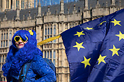 Anti Brexit protester with a blue wig and yellow heart shaped sunglasses in Westminster as the Prime Minister arrives in Brussels to request an extension to Article 50 so the UK can continue to try to agree a Brexit Withdrawal Agreement on 10th April 2019 in London, England, United Kingdom. With just two days until the UK is supposed to be leaving the European Union, the delay decision awaits.