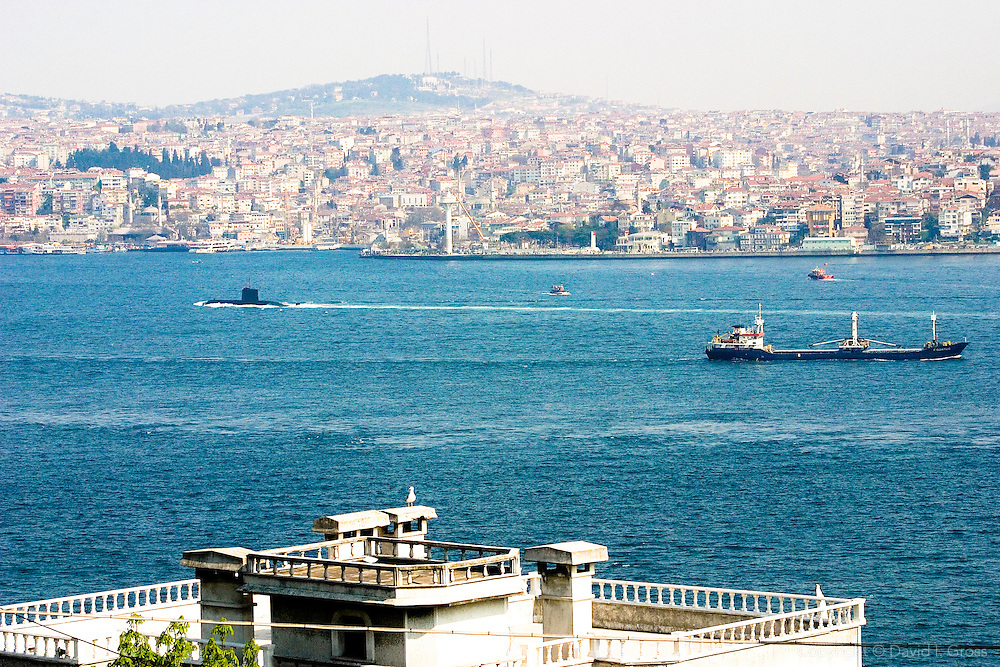 A submarine passes through the Turkish Straits in Istanbul.