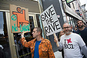 Demo to save UK nightlife following the closure of London club Fabric protesters are fighting to save London's famous venues in this London clubbing scene demonstration on Saturday 8th October 2016 in London United Kingdom.  The protest is calling for government to protect this area our culture in London and throughout the UK. Beginning in Hoxton Square, protesters gathered in a peaceful and joyous and vibrant protest to raise awareness of difficulties faced by electronic music and club culture.