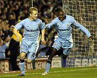 Photo. Glyn Thomas. <br /> Coventry City v Nottingham Forest. <br /> Coca Cola Championship. 06/04/2005.<br /> Coventry's Gary McSheffrey (L) celebrates after scoring from the penalty spot with Dyer