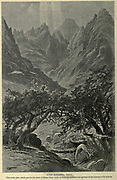 Wady Katarina, Sinai. This rocky glen Shagg Musa leads up from the orchards and gardens of the Convent of El Arbain Wood engraving of from 'Picturesque Palestine, Sinai and Egypt' by Wilson, Charles William, Sir, 1836-1905; Lane-Poole, Stanley, 1854-1931 Volume 4. Published in 1884 by J. S. Virtue and Co, London