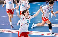 Tine Stange  of Larvik  reacts during 3rd Main Round of Women Champions League handball match between RK Krim Mercator, Ljubljana and Larvik HK, Norway on February 19, 2010 in Arena Kodeljevo, Ljubljana, Slovenia. Larvik defeated Krim 34-30. (Photo by Vid Ponikvar / Sportida)