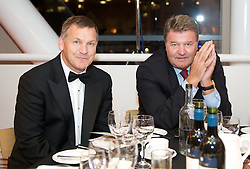 CARDIFF, WALES - Tuesday, October 7, 2008: Wales' manager John Toshack and BBC Sport's Ray Stubbs at the Brains Beer Wales Football Awards at the Millennium Stadium. (Photo by David Rawcliffe/Propaganda)