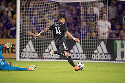 April 21, 2018 - Orlando, FL, U.S. - ORLANDO, FL - APRIL 21: Orlando City forward Dom Dwyer (14) scores his 100th career goal during the soccer match between the Orlando City Lions and the San Jose Earthquakes on April 21, 2018 at Orlando City Stadium in Orlando FL. (Photo by Joe Petro/Icon Sportswire) (Credit Image: © Joe Petro/Icon SMI via ZUMA Press)