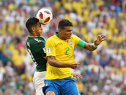 July 2, 2018 - Samara, Russia - July 2, 2018, Russia, Samara, FIFA World Cup 2018, 1/8 finals. Football match of Brazil - Mexico at the stadium Samara - Arena. Player of the national team Tiago Silva  (Credit Image: © Russian Look via ZUMA Wire)