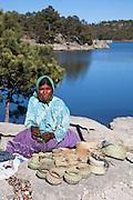 Tarahumana indian woman, lake, Creel, Copper Canyon, Chihuaua, Mexico