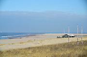 Nederland, The Netherlands, Kijkduin 7-2-2018 De zandmotor is een opgespoten zandvlakte voor de kust op een kwetsbare plek. Dit schiereiland zorgt ervoor dat de kust tussen Hoek van Holland en Scheveningen op natuurlijke wijze aangroeit waardoor het meer bescherming geeft tegen de zeespiegelstijging.