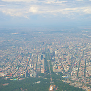 Aerial view of Mexico City from airplane window. D.F.. Mexico.