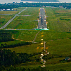 Aerial view of the Runway at local airport in Bar Harbor Acadia National Park Area of Maine
