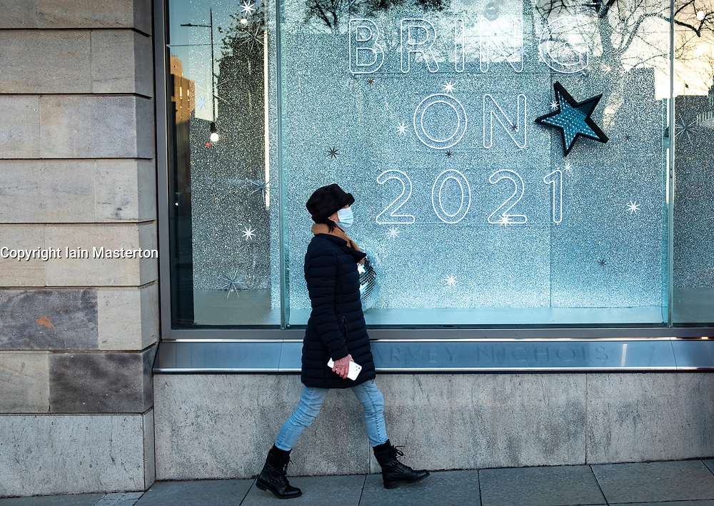 Edinburgh, Scotland, UK. 5 November 2020. Christmas shop window displays in Edinburgh. Muted low key displays this year because of uncertainties of the Covid-19 pandemic. Pictured; Harvey Nichols store display,  Iain Masterton/Alamy Live News