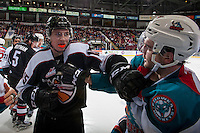 KELOWNA, CANADA - FEBRUARY 10: Owen Hardy #15 of the Vancouver Giants gets in the face of Reid Gardiner #23 of the Kelowna Rockets on February 10, 2017 at Prospera Place in Kelowna, British Columbia, Canada.  (Photo by Marissa Baecker/Shoot the Breeze)  *** Local Caption ***