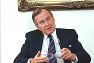 Washingtron,DC 1989/03/01 President G H W Bush interview by the editors of READERS DIGEST in the Oval Office of the White House,<br />Photo by Dennis Brack
