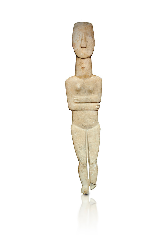 Marble female Cycladic statue figurine with folded arms of the Spedos type. Early Cycladic Period II (2800-3200) from Naxos, Cat No 20934. National Archaeological Museum, Athens.   White background.<br /> <br /> <br /> One of the largest known Cycladic statues at 89CM tall this figurine still has traces of a colour on the hair and eyes. .<br /> <br /> If you prefer to buy from our ALAMY PHOTO LIBRARY  Collection visit : https://www.alamy.com/portfolio/paul-williams-funkystock/cycladic-art-artefacts.html Type into the LOWER SEARCH WITHIN GALLERY box to refine search by adding background colour, place, museum etc<br /> <br /> Visit our CYCLADIC CIVILISATIONS PHOTO COLLECTIONS for more photos to download or buy as wall art prints https://funkystock.photoshelter.com/gallery-collection/Cycladic-civilisation-Ancient-Greek-Artefacts-art-Photos-Pictures-Images/C0000CmevVvnC.XU