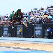 Pedro Pablo Pichardo, Cuba, winning the Men's Triple Jump Competition with a jump of 17.56m during the Diamond League Adidas Grand Prix at Icahn Stadium, Randall's Island, Manhattan, New York, USA. 13th June 2015. Photo Tim Clayton