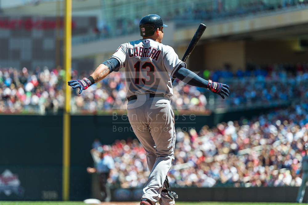 Cleveland Indians shortstop Asdrubal Cabrera strikes out against the Minnesota Twins at Target Field in Minneapolis, Minnesota on July 29, 2012.  The Twins defeated the Indians 5 to 1.  © 2012 Ben Krause