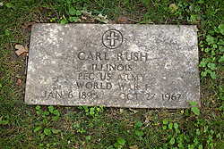 26 August 2017:   A part of the History of McLean County Illinois.<br /> <br /> Tombstones in Evergreen Memorial Cemetery.  Civic leaders, soldiers, and other prominent people are featured.<br /> <br /> Section 16 - Veterans Section<br /> Carl Rush<br /> Illinois<br /> Private First Class US Army<br /> Jan 6, 1895<br /> Oct 27, 1967