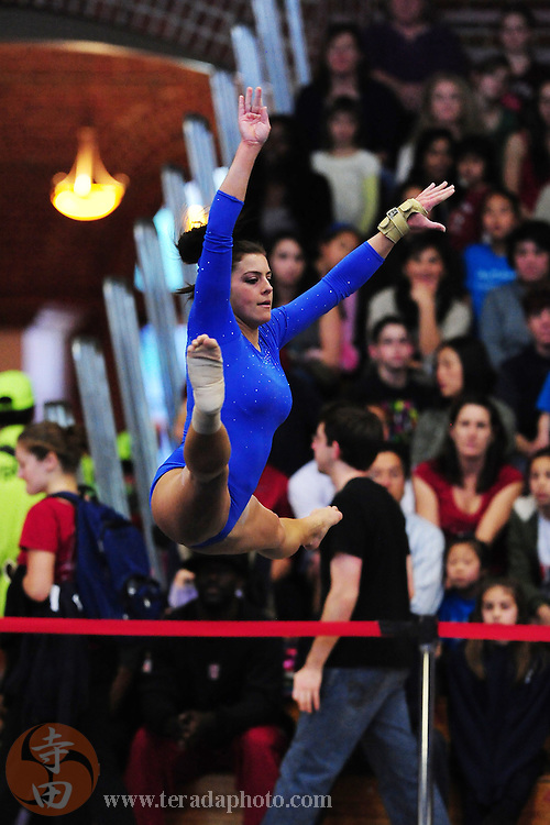 January 23, 2011; Stanford, CA, USA; UCLA Bruins gymnast Tauny Frattone performs on the floor during the meet against the Stanford Cardinal at Burnham Pavilion. The Cardinal defeated the Bruins 196.200-194.825. Mandatory Credit: Kyle Terada-Terada Photo