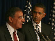 President Elect Obama listens to Leon Panetta at a press briefing where President elect Obama announced that Panetta was his choice to be the Director of the Central Intelligence Agency on January 9, 2009.  ISP pool photo by Dennis Brack/Black Star