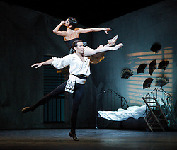 Roland Petit Triple Bill <br /> Carmen, and L'Arlesienne<br /> The English National Ballet and guests<br /> at The London Coliseum, London, Great Britain <br /> 20th July 2011 <br /> <br /> Carmen <br /> choreography by Roland Petit<br /> <br /> Begona Cao (as Carmen)<br /> Fabian Reimair (as Jose)<br /> <br /> <br /> Photograph by Elliott Franks