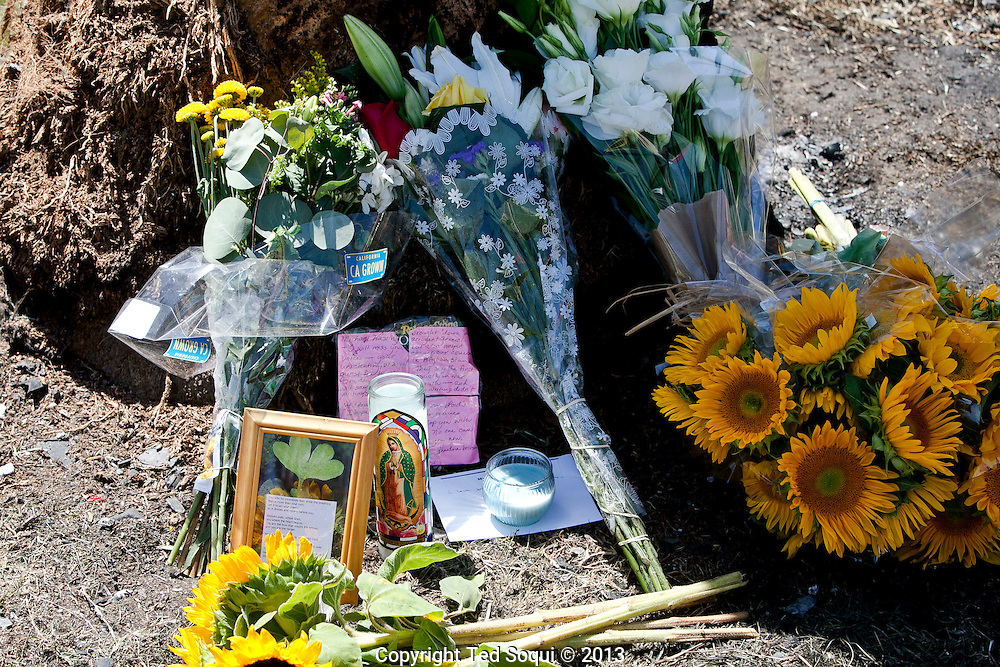 A make-shift memorial where Michael Hastings, a LA investigative journalist, died in a car crash on Highland Ave. in Los Angeles. Hastings' car ran in to a palm tree located on a median on Highland Ave at approximately 100mph in the early morning hours. The car burst in to flames and he could not be saved by local residents who attempted to put out the inferno. <br />  Hastings was most known for his 2010 piece in Rolling Stone that brought down the career of General Stanley McChrystal.