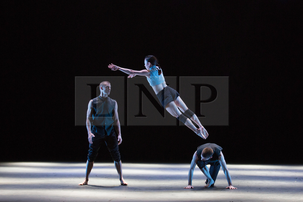 © Licensed to London News Pictures. 24/11/2015. London, UK. Broken Fall performed by Yu-Hsien Wu, Adam Kirkham and Nathan Young. Russell Maliphant Company present Conceal / Reveal at Sadler's Wells from 26 to 28 November 2015. Conceal / Reveal is the 20th anniversary celebration between dance choreographer Russell Maliphant and lighting designer Michael Hulls. Photo credit: Bettina Strenske/LNP