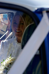 Ellie Goulding is seen leaving York Minster with her new husband Caspar Jopling following their marriage ceremony today. The wedding was attended by many famous faces including Princess Beatrice, Princess Eugenie and Sarah Ferguson, Duchess of York.<br /><br />31 August 2019.<br /><br />Please byline: Vantagenews.com