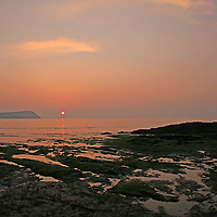 Europe, United Kingdom, Wales, Newport. Sunset at the Newport Sands Beach on the Nevern Estuary, part of the Pembrokeshire Coast National Park.