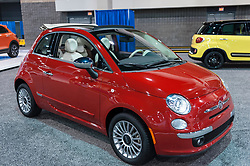 CHARLOTTE, NC, USA - November 11, 2015:  Fiat 500C on display during the 2015 Charlotte International Auto Show at the Charlotte Convention Center in downtown Charlotte.