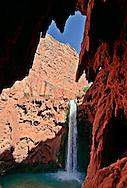 Arizona, Supai, Havasupai Nation. Mooney Falls, Reservation, Grand Canyon region, Havasu Canyon, Havasu River tributary of Colorado River