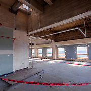 Gutted interior of Power & Light Building skyscraper in downtown Kansas City, MO as the structure undergoes renovation by Northpoint Development for conversion to apartments.