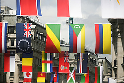 © Licensed to London News Pictures. 15/06/2012. London,Britain. Olympic nations flags that hang all the way down Regents Street .  Photo credit : Thomas Campean/LNP