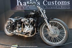 Katie's Customs' rigid Knucklehead chopper at the Mooneyes Yokohama Hot Rod & Custom Show. Yokohama, Japan. December 6, 2015.  Photography ©2015 Michael Lichter.