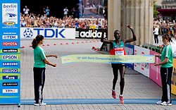 Winner Albel Kirui of Kenya at the finish line after  the men's 42km Marathon Race during the 2009 IAAF Athletics World Championships on August 22, 2009 in Berlin, Germany. (Photo by Vid Ponikvar / Sportida)