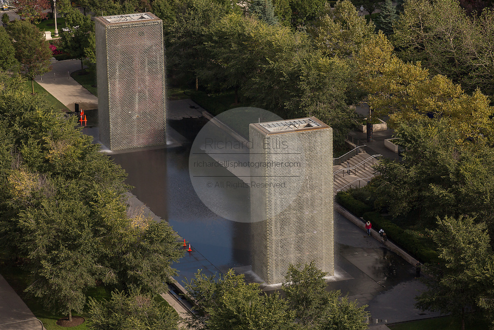 Aerial view of the from the Cliff Dwellers Club of the Crown Fountain sculpture Millennium Park in Chicago USA