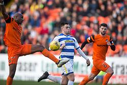 Dundee United's William Edjenguele and Morton's Lawrence Shankland. Dundee United 1 v 1 Morton, Scottish Championship game played 25/2/2017 at Tannadice Park.