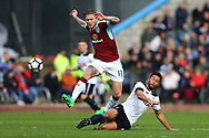 Mousa Dembele of Tottenham Hotspur  tackles Jeff Hendrick of Burnley. Premier League match, Burnley v Tottenham Hotspur at Turf Moor in Burnley , Lancs on Saturday 1st April 2017.<br /> pic by Chris Stading, Andrew Orchard sports photography.