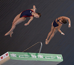 25.04.2014, Aquatics Centre, London, ENG, FINA, NVC Diving World Series 2014, Tag 1, im Bild Amanda Burke and Samantha Pickens of The United States of America competing in the women's synchro 10m platform // Amanda Burke and Samantha Pickens of The United States of America competing in the women's synchro 10m platform during day one of the FINA/NVC Diving World Series 2014 Aquatics Centre in London, Great Britain on 2014/04/25. EXPA Pictures © 2014, PhotoCredit: EXPA/ Mitchell Gunn<br /> <br /> *****ATTENTION - OUT of GBR*****