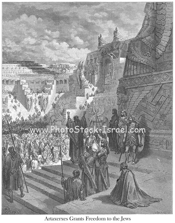 Artaxerxes Granting Freedom to the Jews Ezra 7:13 From the book 'Bible Gallery' Illustrated by Gustave Dore with Memoir of Dore and Descriptive Letter-press by Talbot W. Chambers D.D. Published by Cassell & Company Limited in London and simultaneously by Mame in Tours, France in 1866