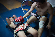 Jan 24, 2014 - Chiang Mai, Thailand - <br /> <br /> Nine Year Old Muay Thai Fighter<br /> <br /> Focus and his father train at his father's Muay Thai gym in central Chiang Mai. PETCHFOGUS SITTHAHARNAEK, 9, aka Focus is the top fighter for his age and weight in Chiang Mai. He has begun fighting older, heavier opponents to continue to improve his skills. Fighters are typically paid 1000 baht per fight. <br /> ©Exclusivepix