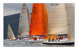 Yachting- The first days inshore racing  of the Bell Lawrie Scottish series 2003 at Tarbert Loch Fyne.  Light shifty winds dominated the racing...GBR8833R, Nimmo, a Dubois 37 from Galway, Kerr 11.3 Blue Bell, GBR1109L and Crackerjack GBR6R in Class one. With Cracklin Rosie IRL5851 to weather...Pics Marc Turner / PFM