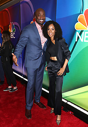 NBC 2019 Upfront held at The Four Seasons Hotel on May 13, 2019 in New York City, NY © Steven Bergman/AFF-USA.COM. 13 May 2019 Pictured: Akbar Gbajabiamila and Zuri Hall. Photo credit: Steven Bergman/AFF-USA.COM / MEGA TheMegaAgency.com +1 888 505 6342