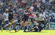 Samoa Jack Lam powers through during the Rugby World Cup 2015 match between Samoa and USA at the Brighton Community Stadium, Falmer, United Kingdom on 20 September 2015.