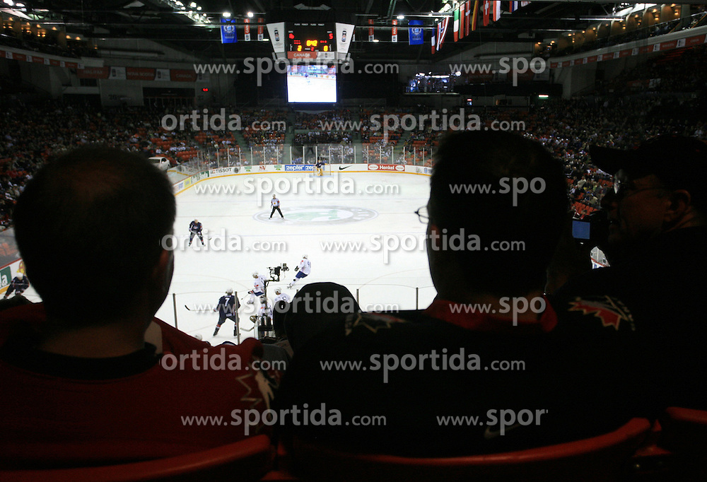 Spectators wathing the  ice-hockey match USA vs Slovenia at Preliminary Round (group B) of IIHF WC 2008 in Halifax, on May 04, 2008 in Metro Center, Halifax, Nova Scotia, Canada. (Photo by Vid Ponikvar / Sportal Images)