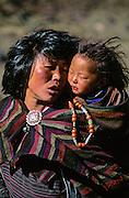 BHUTAN, THANZA VILLAGE, woman, (Ngongdrup) with baby